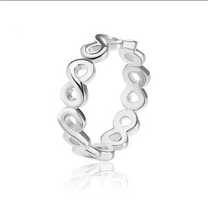 Infinite Silver Color 8 fonts Ring